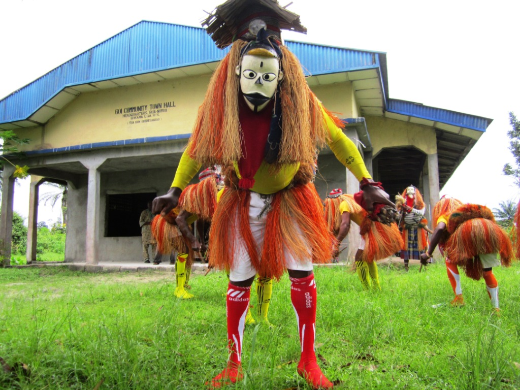 Masqueraders dance performance in Goi - packed
