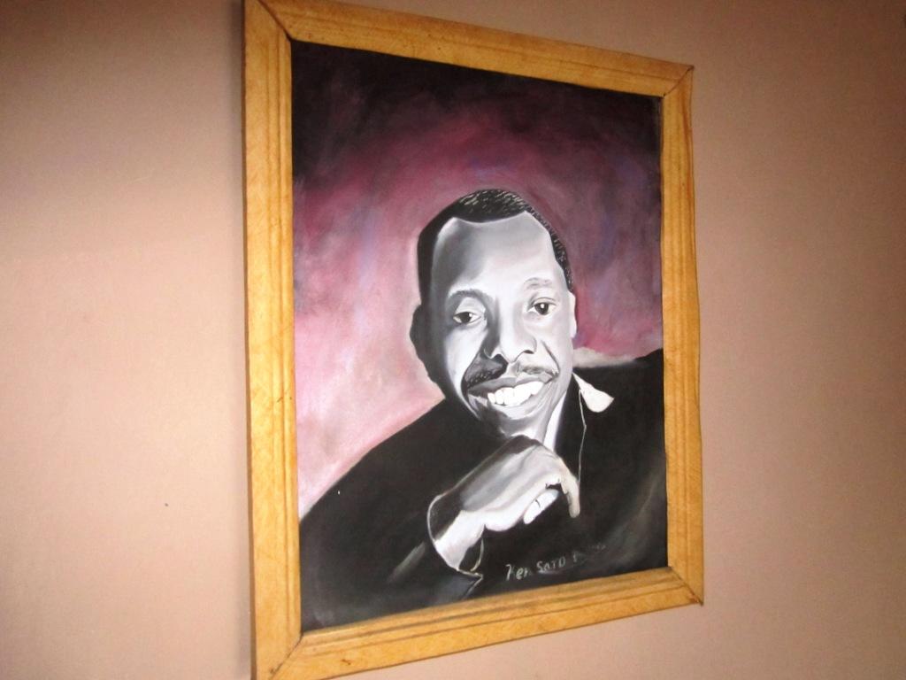 Painting of Ken Saro-Wiwa at ERA Port Harcourt office - packed
